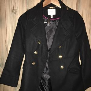 Girl's black pea coat